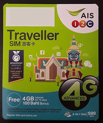 WOW AIS 4 GB Data / Voice Sim Card Thailand 15 Days active 4G Thai Sim Urlaub