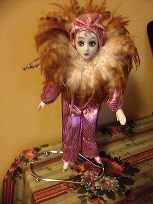 """12"""" Harlequin Doll Real Feathers Around Collar Glass Painted Face Hands Legs"""
