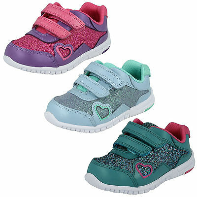 Girls Kids Clarks Glitter Hook & Loop Sports Trainers First Shoes Size Azon Maze