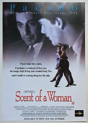 Scent Of A Woman / Original Vintage Video Film Poster / Al Pacino 3
