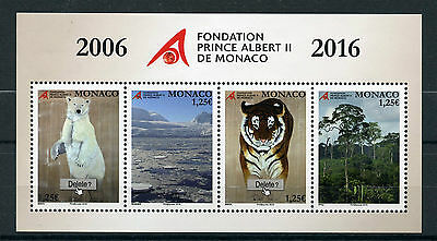 Monaco 2016 MNH Prince Albert II Foundation 4v M/S Tigers Polar Bears Stamps