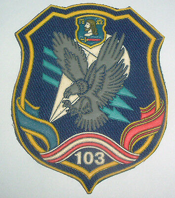 RUSSIAN PATCHES-103rd GUARDS AIRBORNE LIGHTNING STRIKES DIAGONAL ON DARK BLUE