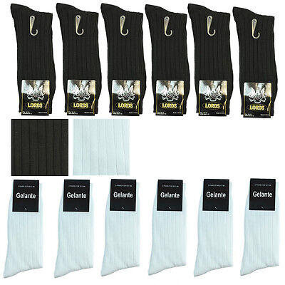 New Lords Ribbed 3-12 Pairs Men Dress Socks Fashion Cotton Size 10-13 Mid Calf