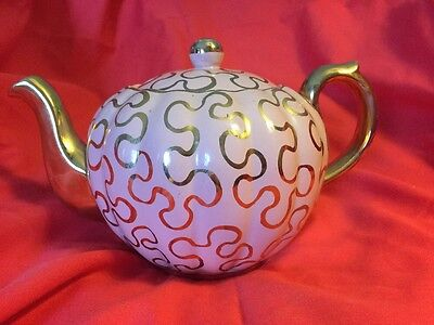 GIBSONS  Collectible Numbered Pink & Gold Hand Painted Vintage Teapot ENGLAND