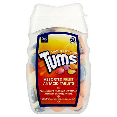 Tums Assorted Fruit Antacid Tablet 75 Tablets -Relief for Bloating and Heartburn