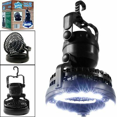 2-in-1 Portable 18 LED Tent Camping Light with Ceiling Fan Outdoor Latern