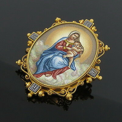 Antique Virgin Mary & Baby Jesus Micro Mosaic Micromosaic 18K Yellow Gold Brooch