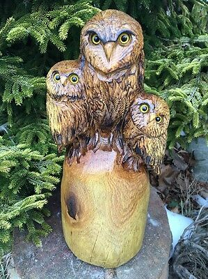 CHAINSAW CARVED OWL FAMILY OAK WOOD CHAINSAW CARVING RUSTIC LOG Great Gift!