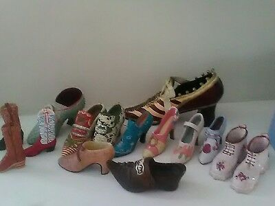 LOT OF 19  PORCELAIN, CERAMIC AND RESIN  miniature COLLECTORS SHOES