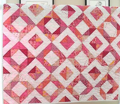 DIAMONDS ~ New Baby Girl Handmade Quilt ~ Half Square Triangles