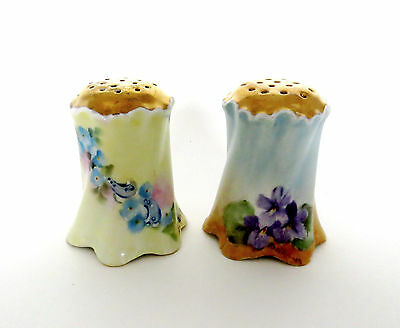Pair of Antique Hand Painted Signed Porcelain Shakers