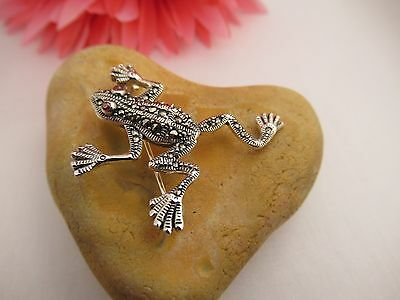 Sterling Silver Marcasite Frog Brooch