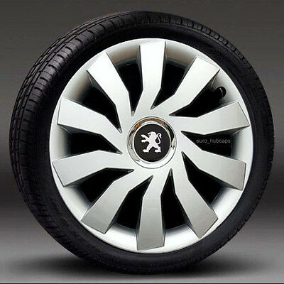 """Silver  15"""" wheel trims, Hub Caps, Covers to Peugeot 207 (Quantity 4)"""