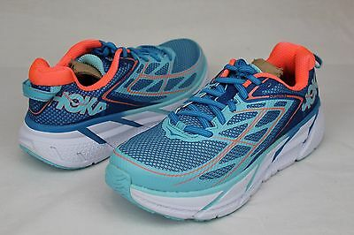 Hoka One One Clifton 3 Womens Size 8.5 Us Color:  Blue Jewel / Neon Coral