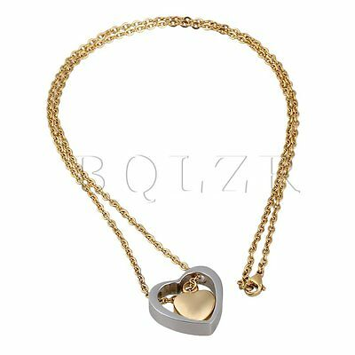 BQLZR Cremation Urn Jewellery Pet Ashes Key Chain Double Heart Shape Gold