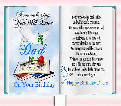 Dad Birthday Book Shaped Memorial Bereavement Graveside Card & Free Holder
