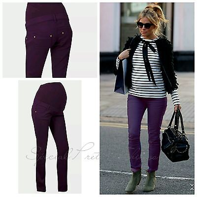 Maternity Skinny Jeans Pregnancy Over Bump Trousers Purple Yessica NEW 8-22 €39