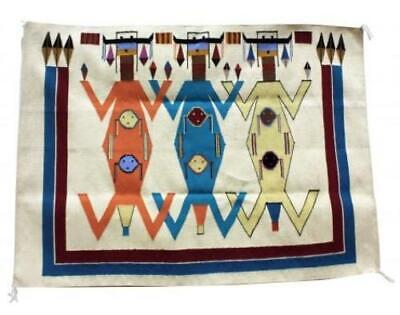 "Winona Joe, Mother Earth Father Sky Rug, Navajo Wool,  42""x56"""