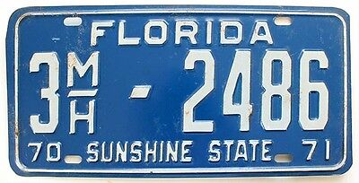 Florida 1970 71 MOBILE HOME License Plate, Tampa Seniors Park, Blue Hair Special