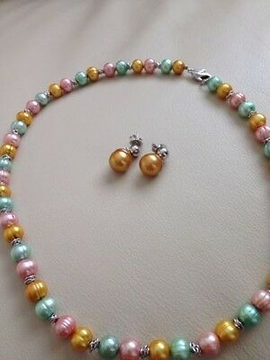 """Honora Cultured Pearl 18"""" Mint Julep Crush Sterling Necklace And Earrings QVC"""