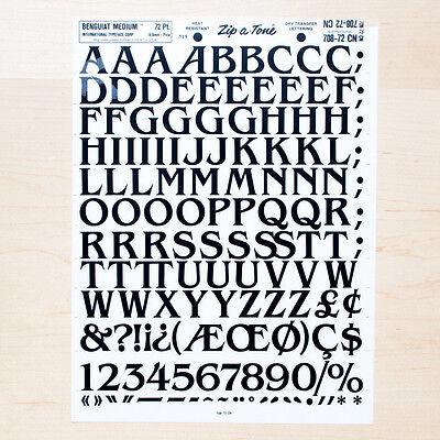 1 Sheet BENGUIAT Medium 72pt Up Letraset L166 Rub on Letters Dry Transfers Fonts