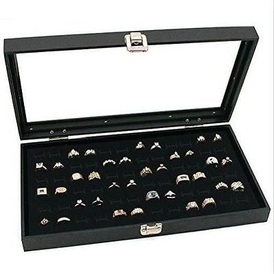Ring Display Case Jewelry Storage Box Organizer Glass Top 72 Slot Tray Holder
