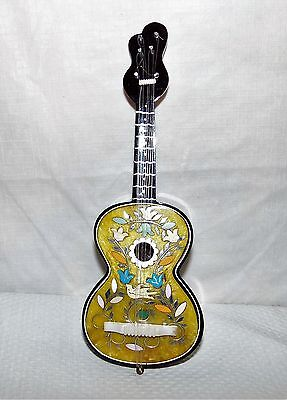 Vintage Miniature Silver Inlaid Guitar Music from The 1950's About 11 '' Long