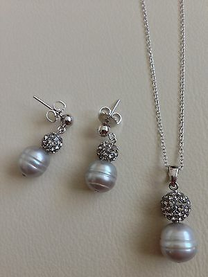 Honora Sterling Silver Freshwater Cultured Pearl And Crystal Necklace & Earrings