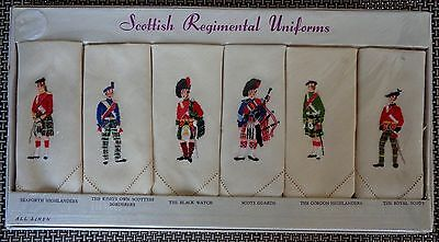 Mid Century Sundew Linens SCOTTISH REGIMENTAL UNIFORMS- 6 TEA NAPKINS - Unopened