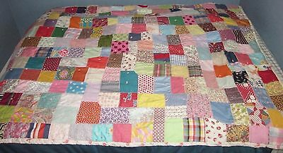 Patchwork Quilt Twin Bed Size Bedspread Blanket Coverlet Vintage Fabric