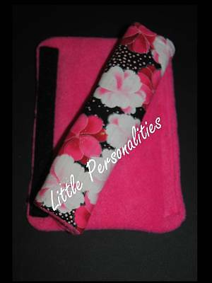 black pink flower butterfly baby pram/buggy/car seat harness strap cover pads