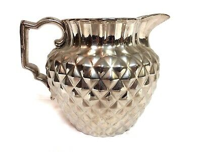Antique 1820's English silver luster Water Pitcher Geometric Diamond Pattern