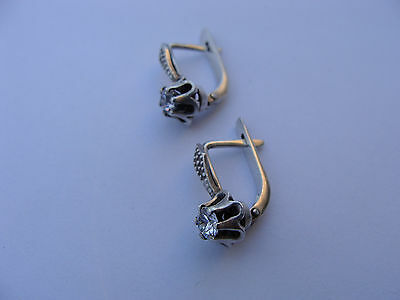 Vintage Russian Silver 875 Earrings With Real Fianit Stones