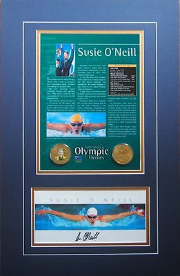 Australian Olympic Heroes - Photo Signed By Susie O'neill & 2 Medals  Framed