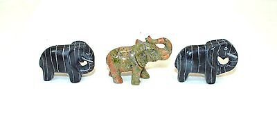 Small Carved Stone Elephants Set Of Three