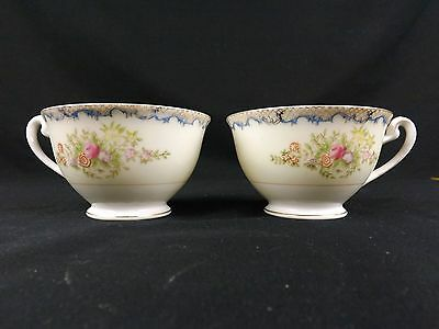Porcelain Coffee Tea Cup Lot of 2 Made in Japan Floral Blue Trim