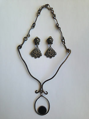 Antique Islamic Persian Ottoman Necklace Earrings Quaranic verses Solid Silver