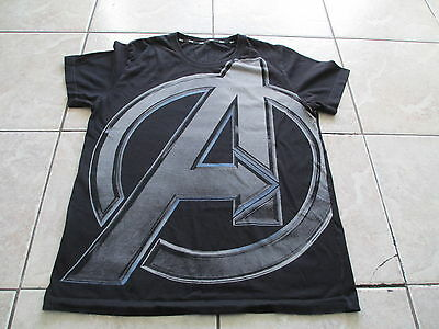 Marvel Avengers Logo Black Gray Blue T Shirt Size L Large M Medium
