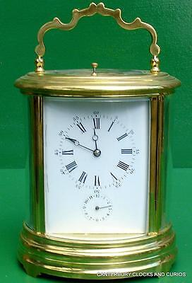 Victor Reclus Brevete Paris Grande Oval Alarm Striking Repeater Carriage Clock
