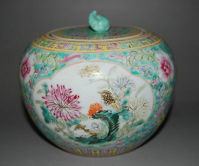 Chinese Famille Rose Porcelain Jar Flower Bird Design Decoration #01 L 12.0 Cm