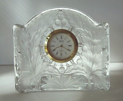 """Mikasa Crystal Glass CLOCK Maple 3.5"""" Made in Japan Boxed Brand New * REDUCED"""