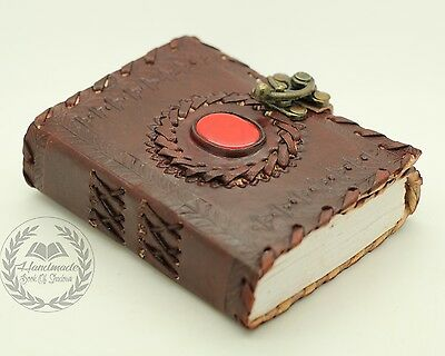 Handmade Book Of Shadows Red Stone Bound Leather Journal Brass Lock Wicca Diary