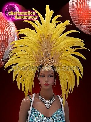 589471185b0d CHARISMATICO Yellow feather silver gold sequinned show time diva headdress