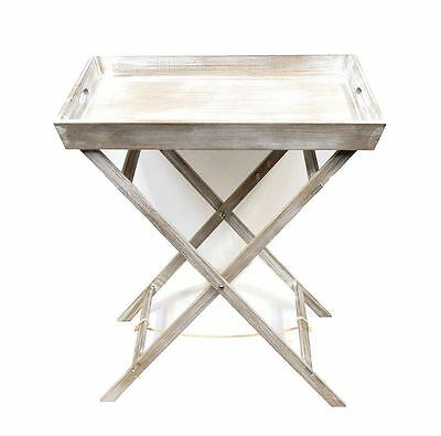 Shabby Chic Butler Tray Table Foldable Portable Tea Drinks Breakfast Side Table