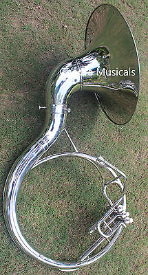 "Sousaphone Nickel Plated 22"" Bb ""Chopra"" 3V BAG n MOUTH PIECE SHIPPING FAST"