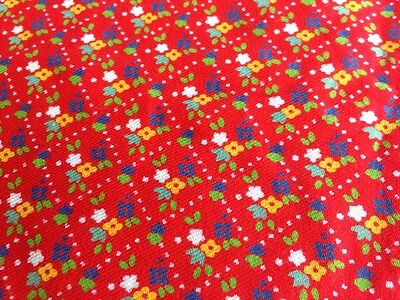 Vintage Retro 1960s Floral Brushed Cotton Fabric - Quilting Clothing Craft 1.8m