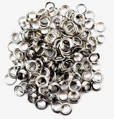 100 Eyelets & Washers 11 mm silber