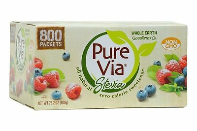 1g Packet Pure Via Stevia All Natural Zero Calorie Sweetener,200/400/800 Packets