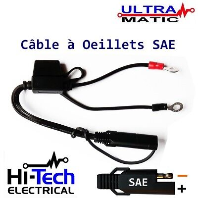 Cable Batterie Sae Connecteur Rapide Permanent Oeillets Compatible Optimate Sae