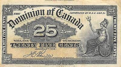 Canada 25 Cents 1.2.1900 P 9b ERROR cut  circulated Banknote